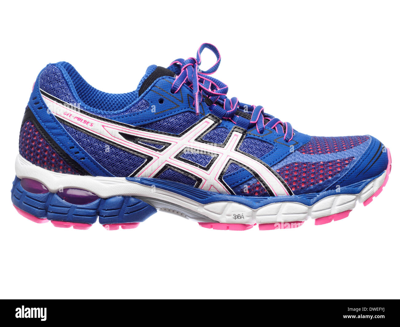 84be2587c10 Blue and pink Asics Gel Pulse 5 running shoe cut out isolated on white  background