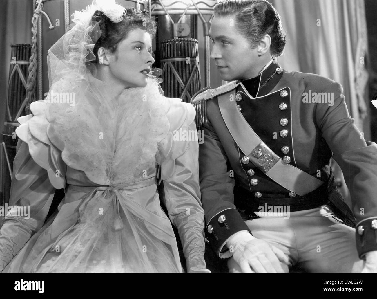 Franchot Tone and Katharine Hepburn, on-set of the Film, 'Quality Street' Directed by George Stevens, 1937 - Stock Image