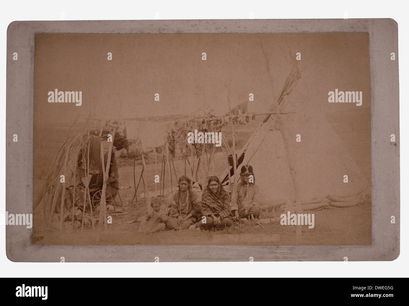 Sioux Native American Family Drying Meat in front of Tipi, circa 1880's - Stock Image