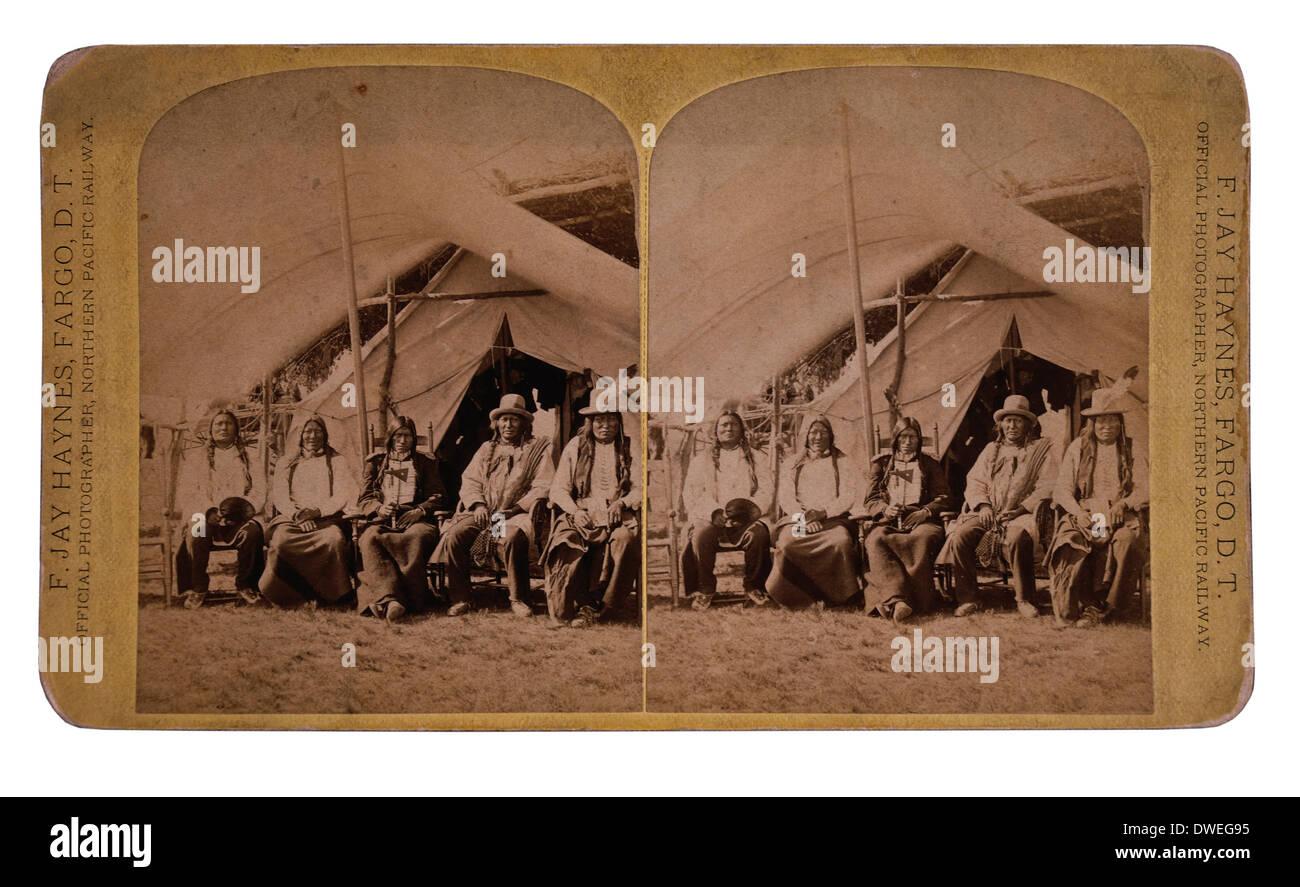 Lakota Chiefs Following their Surrender, Standing Rock Reservation, Dakota Territory, USA, 1881 - Stock Image