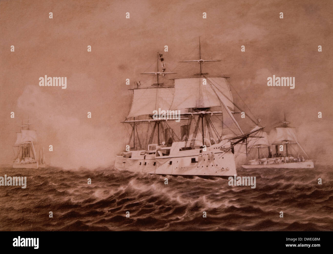 United States Navy Cruiser, U.S.S. Chicago with the Great White Fleet, Circa 1890 - Stock Image
