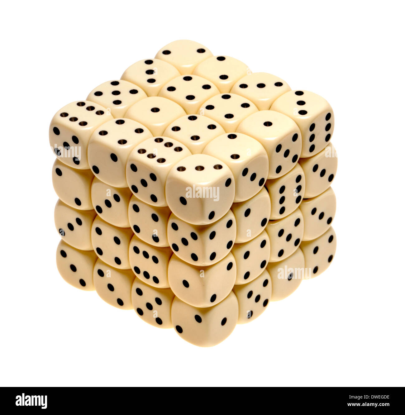 Cube of 64 dice - Stock Image