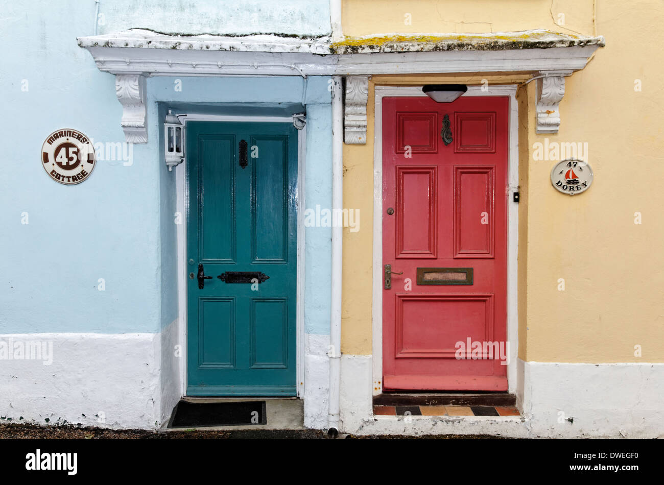 Colourful house doors in the village of Appledore, England, Devon - Stock Image