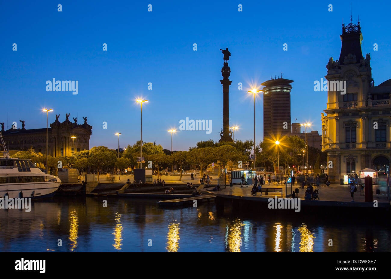 Columbus Monument (Monument a Colom) and the waterfront to Port Vell - Barcelona, Spain. - Stock Image