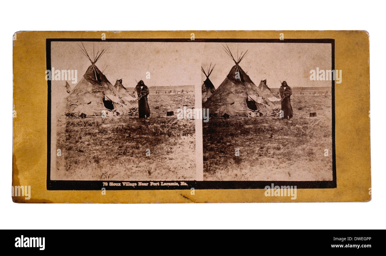 Sioux Village Near Fort Laramie, Wyoming Territory, circa 1880's - Stock Image