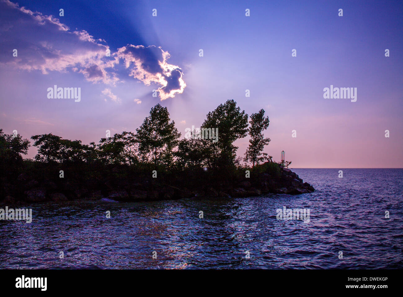 Nearing Sunset Over The Mouth Of Walnut Creek As It Merges With Lake Erie At Erie Pennsylvania, USA - Stock Image
