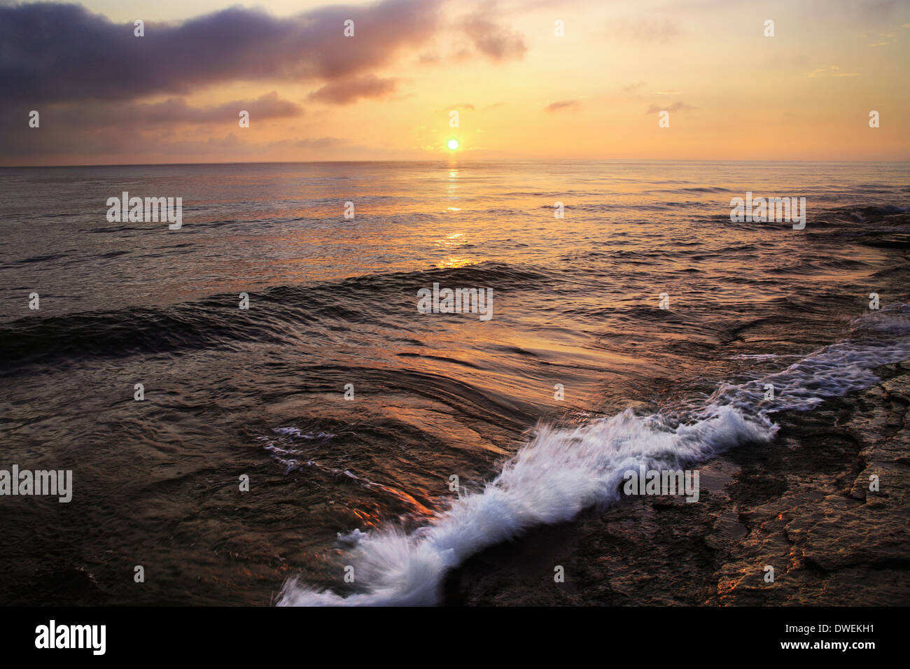 The First Light Of Dawn As Sunrise Breaks Over Lake Erie At Marblehead Ohio, USA - Stock Image