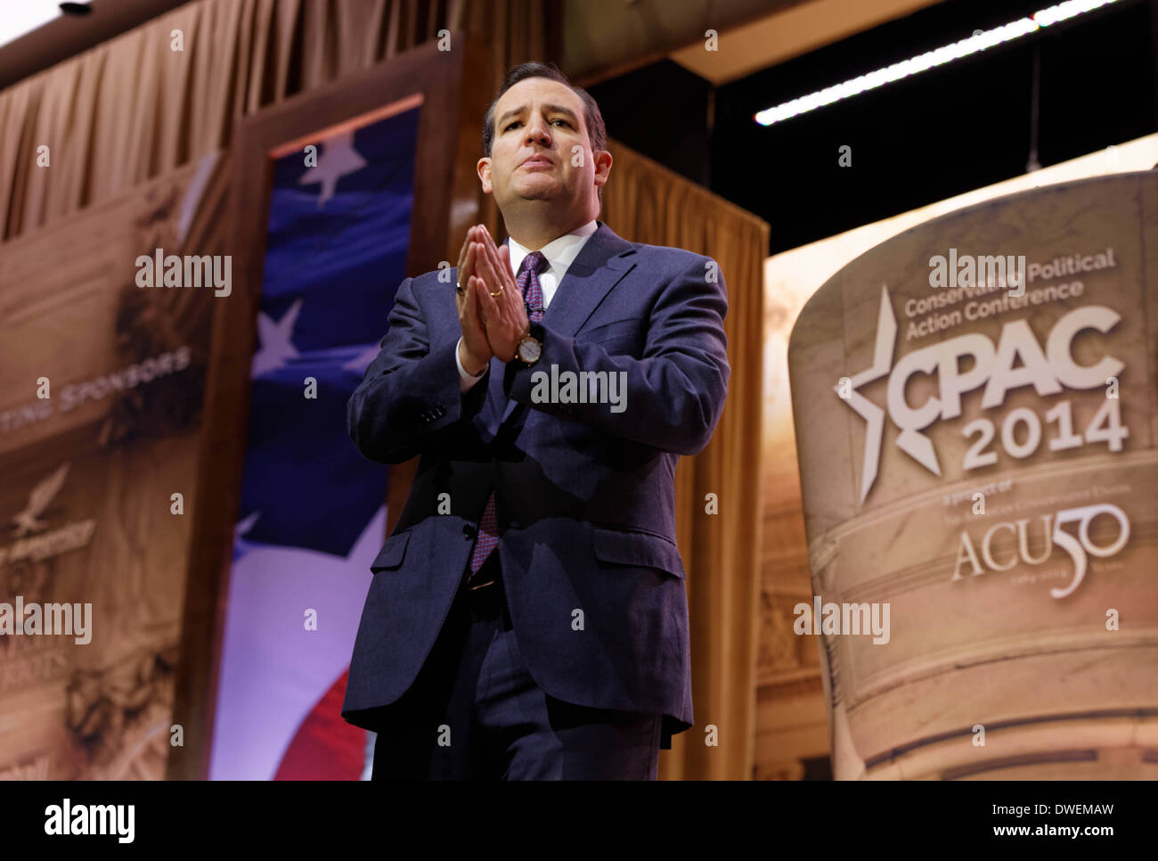 Republican Senator Ted Cruz of Texas speaks during an address to delegates at CPAC. - Stock Image