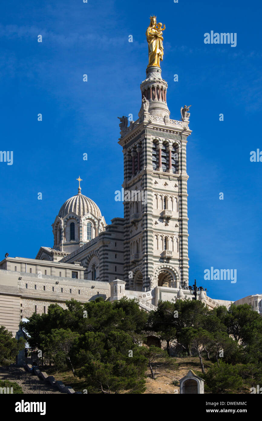 Cathedral de Notre-Dame-de-la-Garde - Marseille in the South of France. - Stock Image