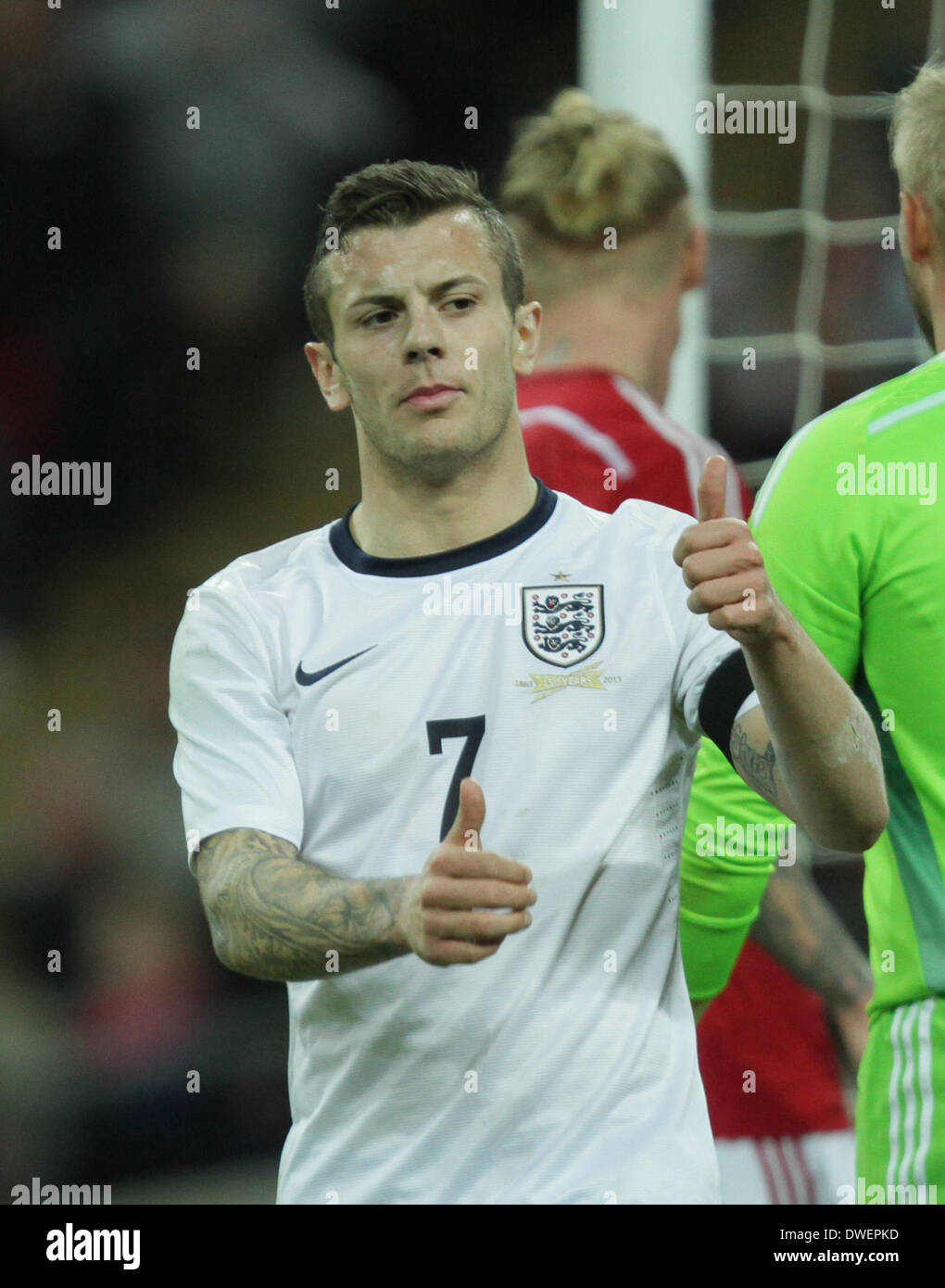 England v Denmark - football friendly International . . Wembley, London, UK . . 05.03.2014 Jack Wilshere, England. **This picture may only be used for editorial purposes** Pic: Paul Marriott Photography - Stock Image