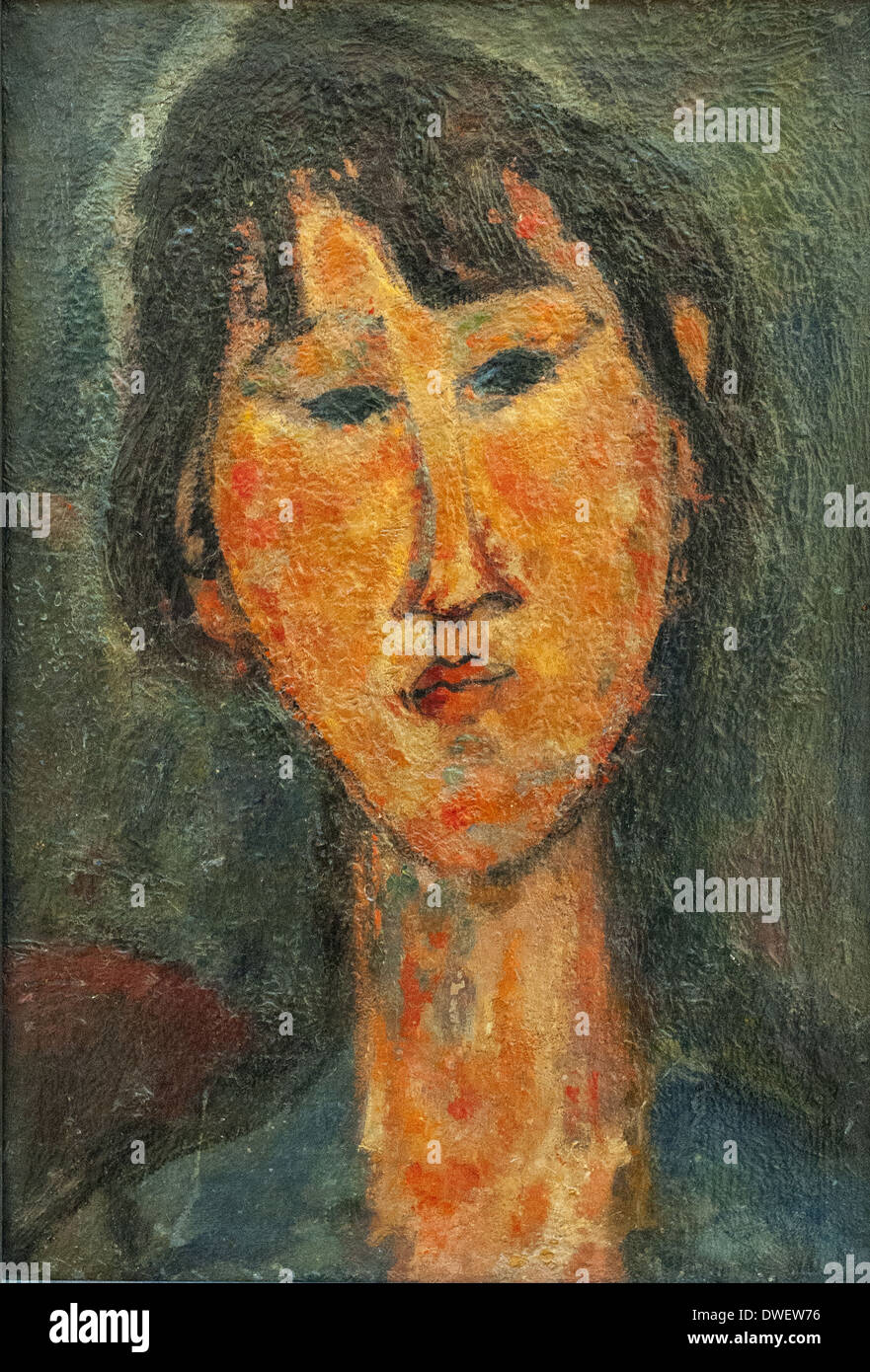 Amedeo Modigliani - Woman Head - 1920 - Museum of Modern Art Paris - Stock Image