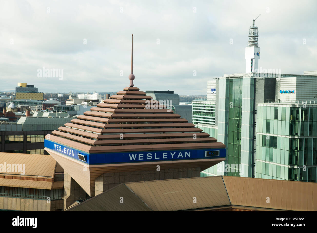 A view across the rooftops of Birmingham. Showing the Wesleyan building. - Stock Image