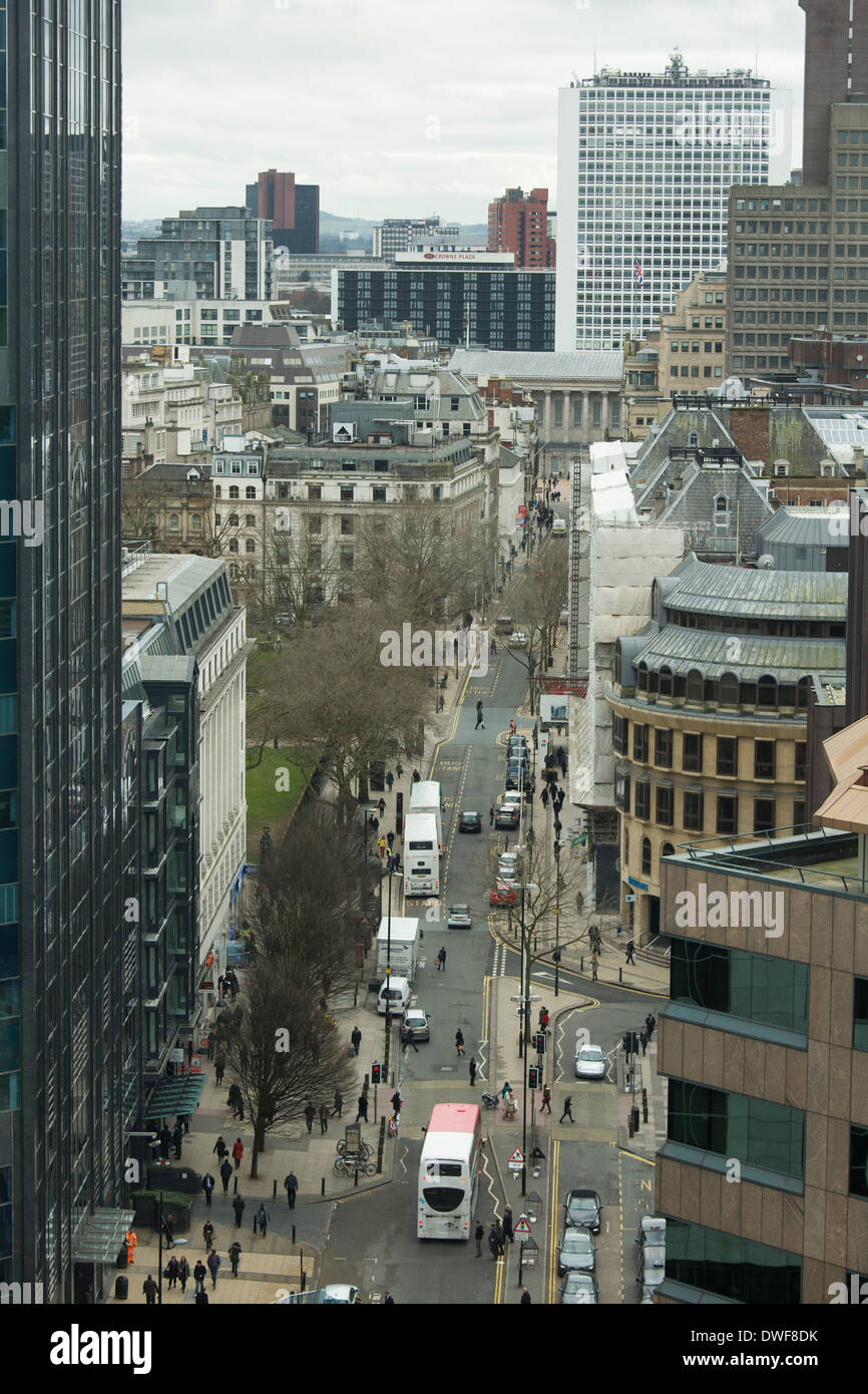 A view across the rooftops of Birmingham and down Colmore Row in the City Centre. - Stock Image