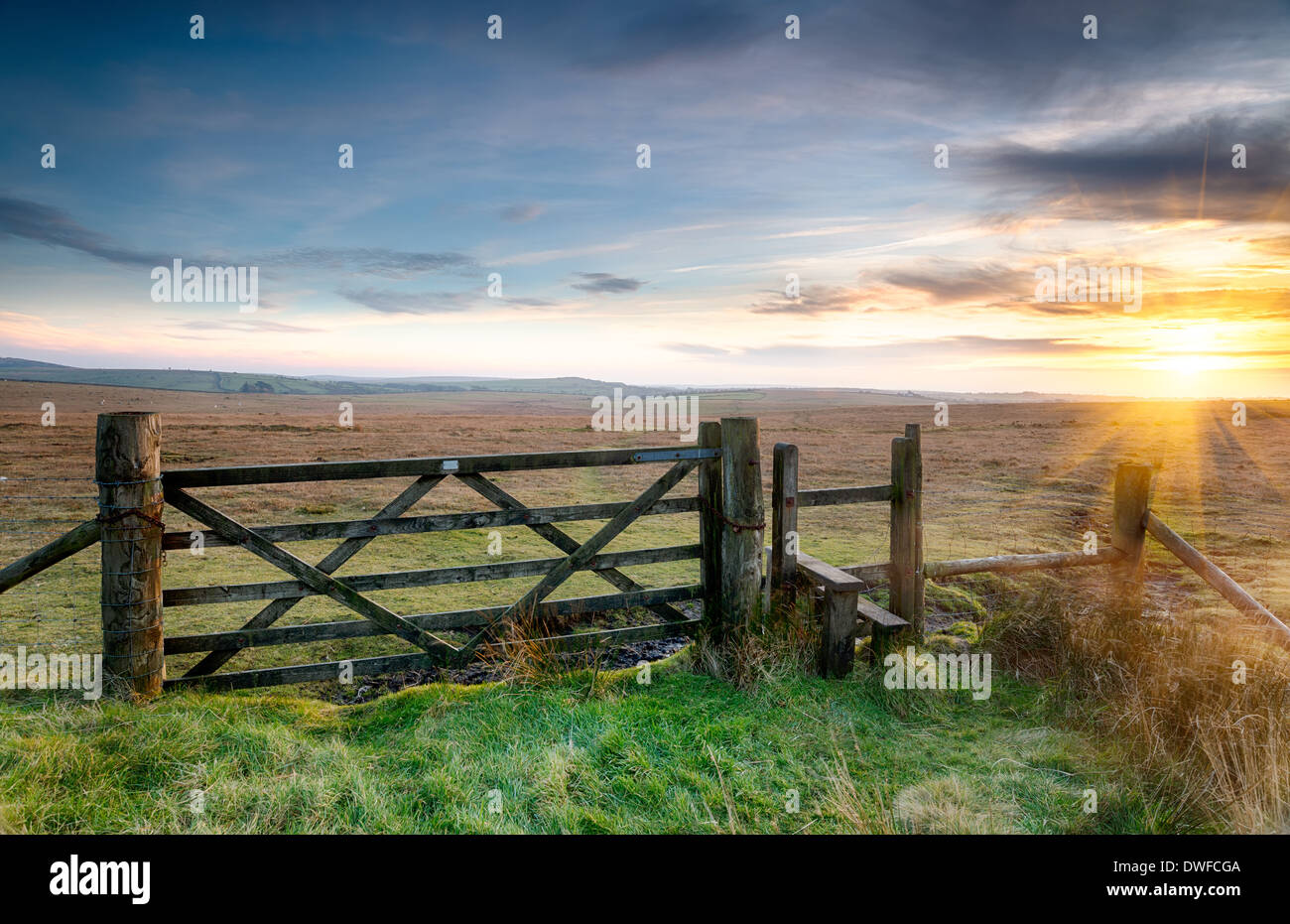 A wooden gate leading on to open moorland on Bodmin Moor in Cornwall - Stock Image