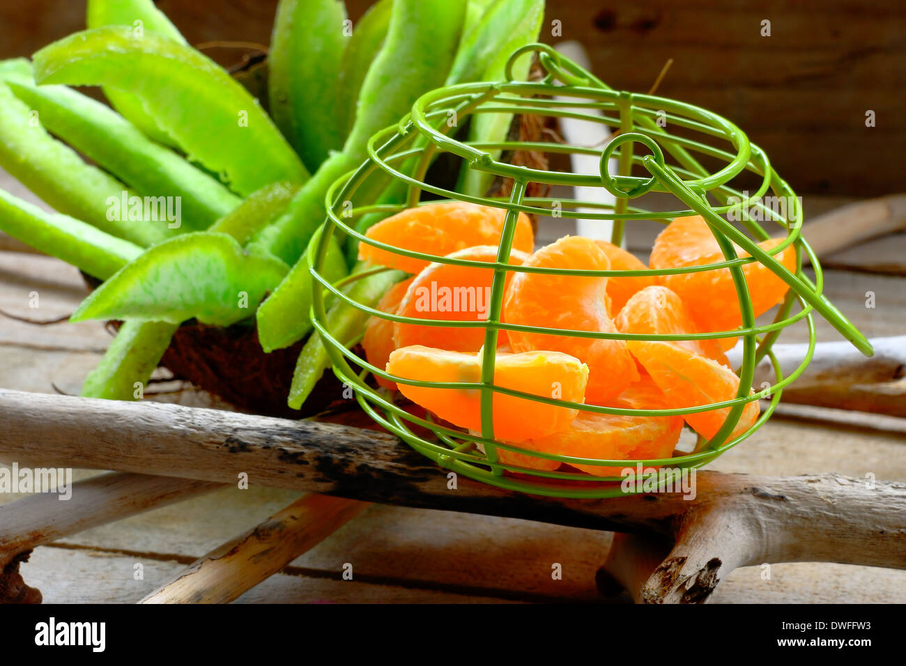 Little basket with fruit - Stock Image