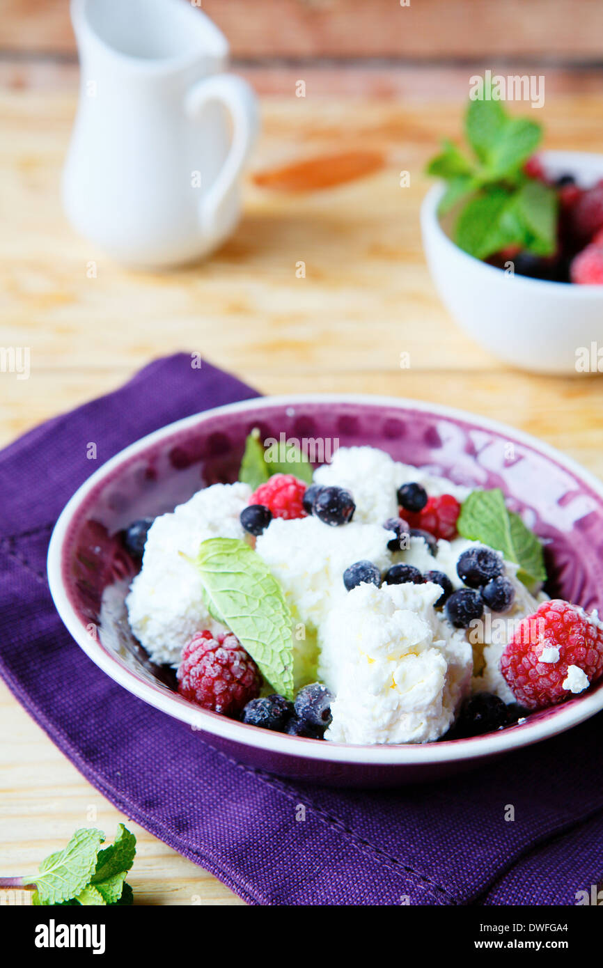 bowl of cottage cheese with berries, food closeup - Stock Image