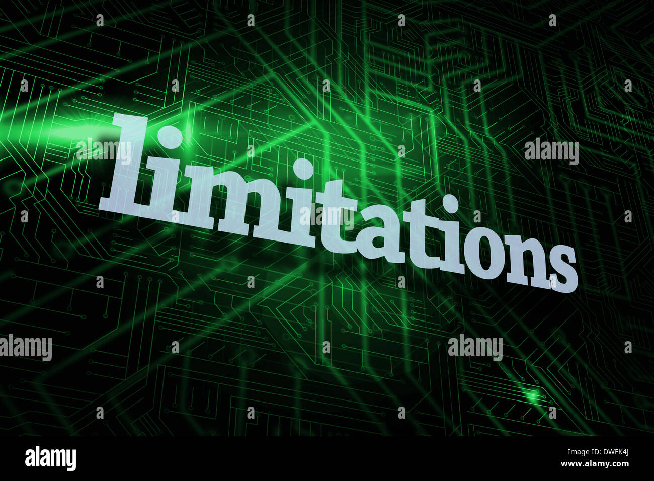 Limitations against green and black circuit board - Stock Image