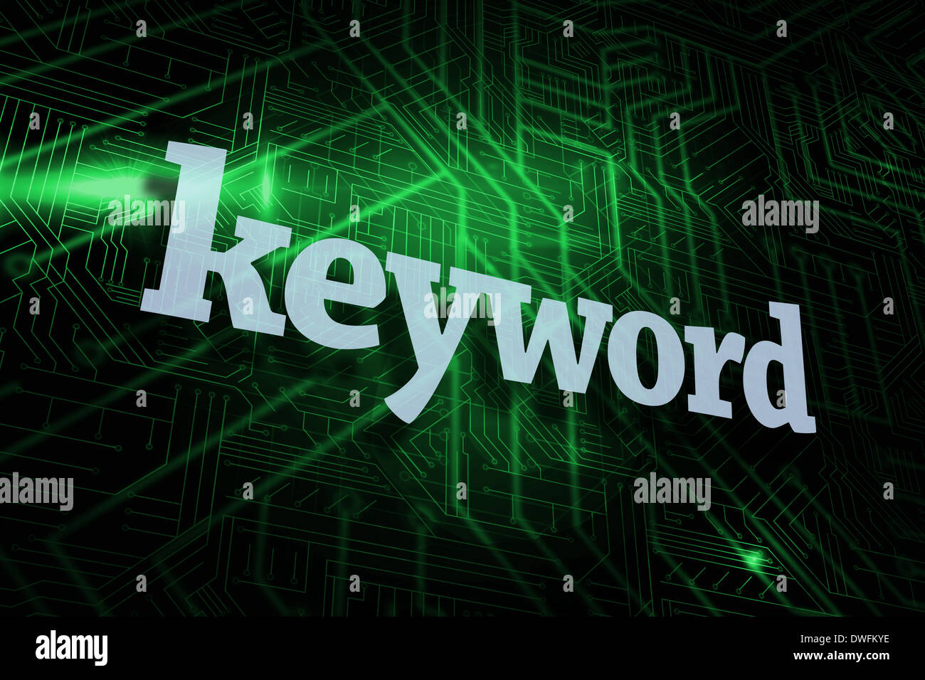 Keyword against green and black circuit board - Stock Image