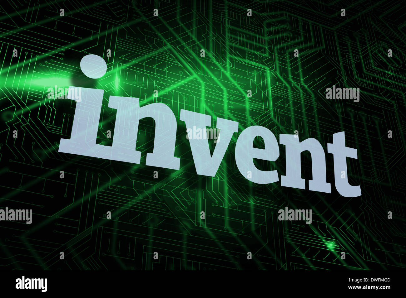 Invent against green and black circuit board - Stock Image