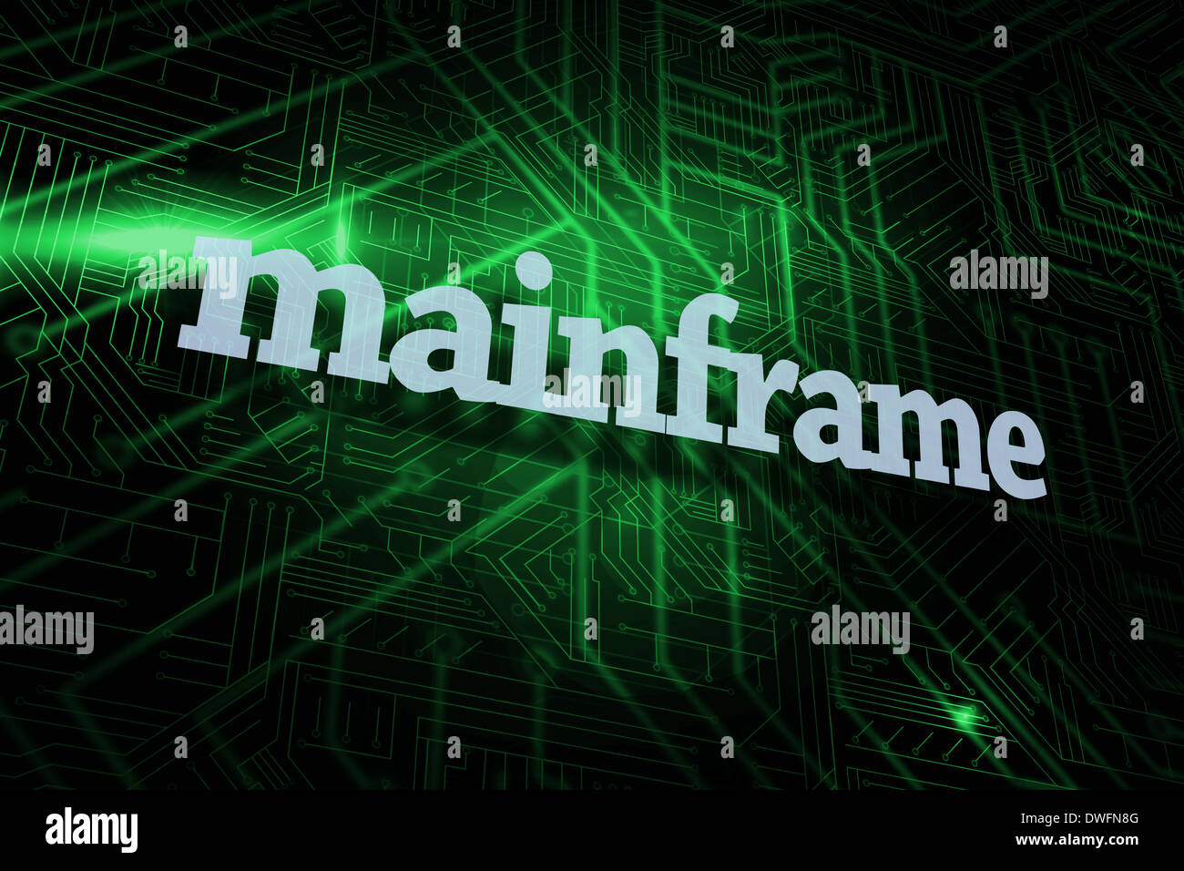 Mainframe against green and black circuit board - Stock Image