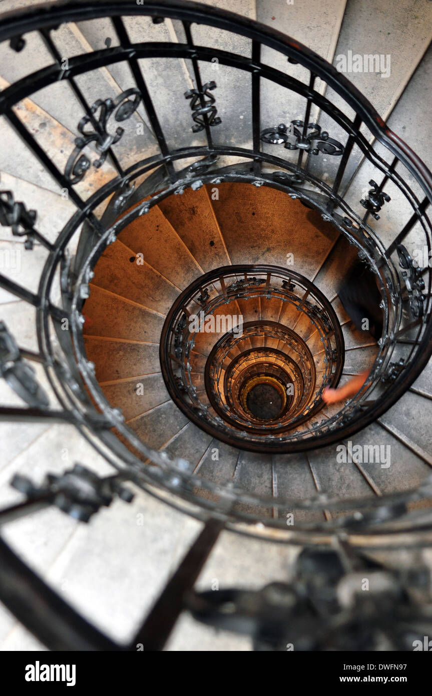 Old Spiral Staircase (spiral Stairway) Inside St. Stephens Basilica In  Budapest, Hungary