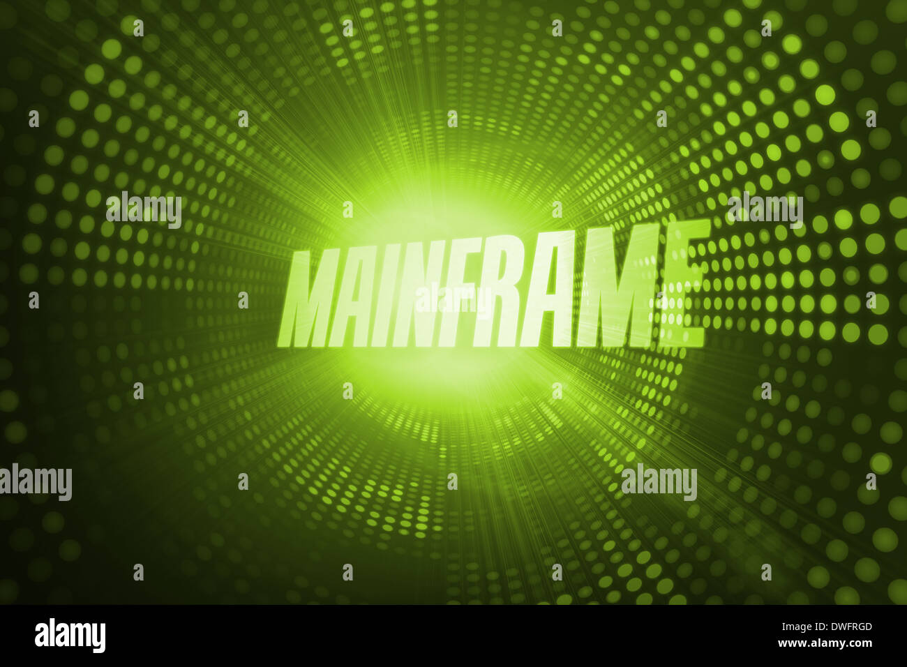 Mainframe against green pixel spiral - Stock Image