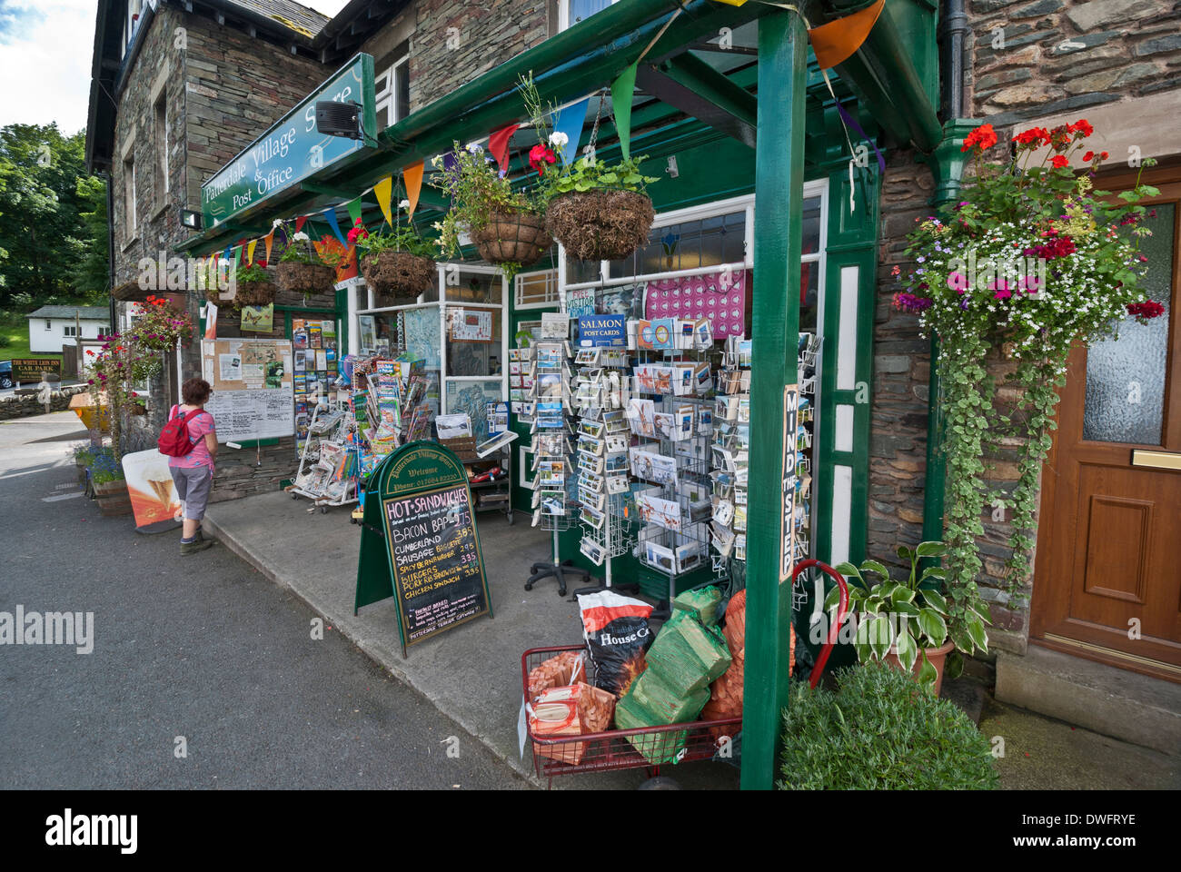 Patterdale Village shop and Post Office, on the route of Wainwright's coast-to-coast walk, Lake District, Cumbria - Stock Image