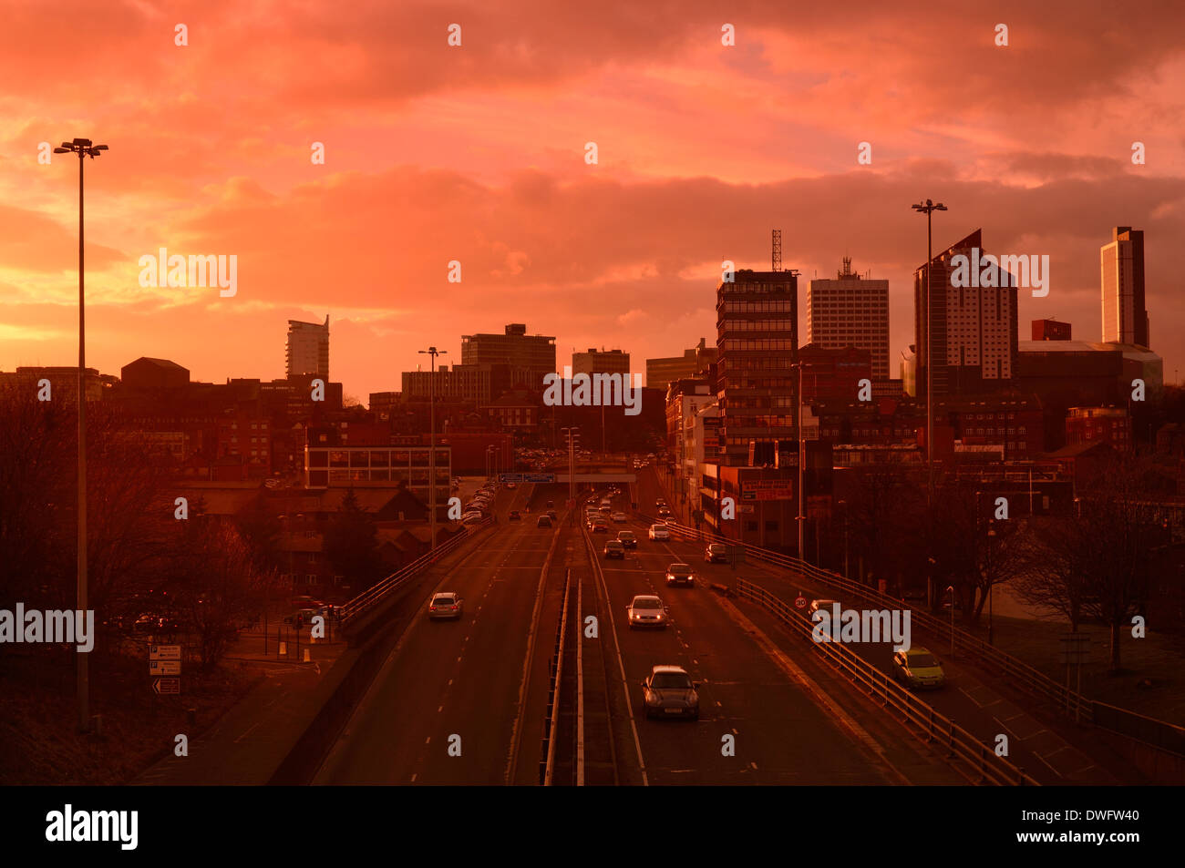traffic trails of traffic heading too and from the city of leeds at dusk leeds yorkshire uk Stock Photo