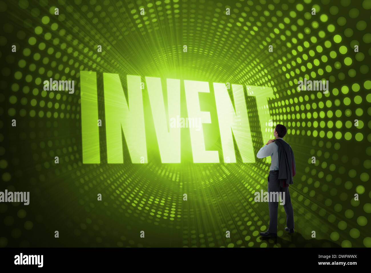 Invent against green pixel spiral - Stock Image
