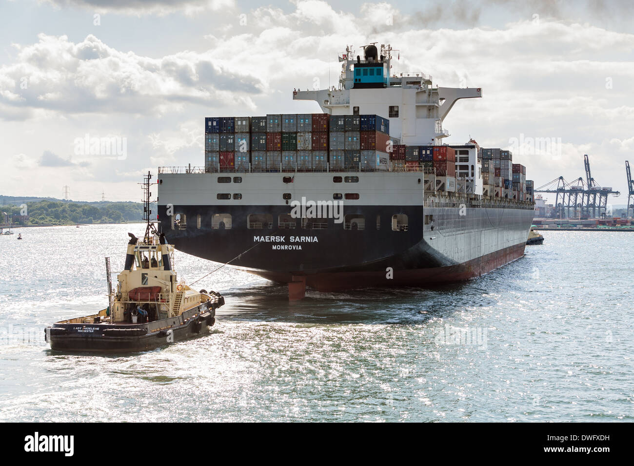 Maersk Sarnia container ship arriving at Southampton container berth. Stock Photo