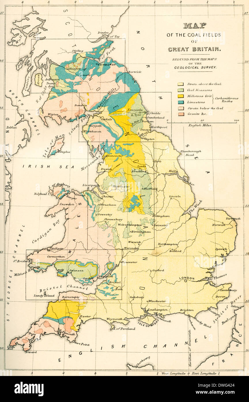 Map showing the coalfields of Great Britain in the 19th century. - Stock Image