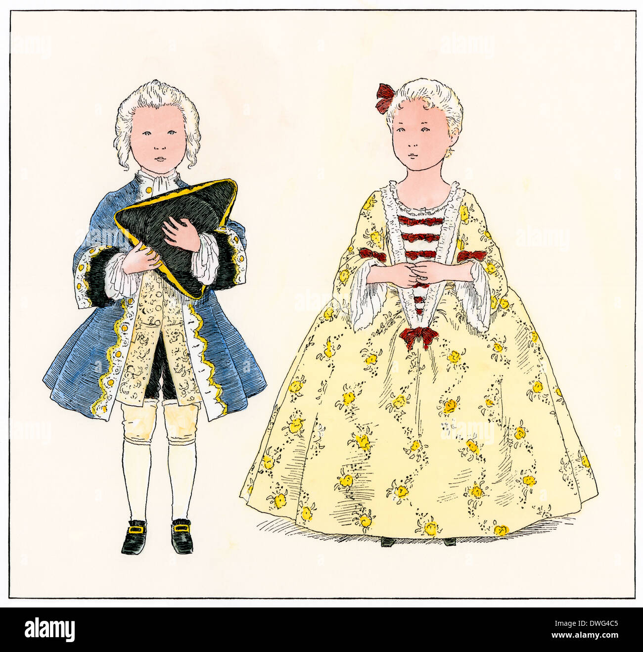 Aristocratic French children dressed as adults, 1700s. Hand-colored woodcut - Stock Image