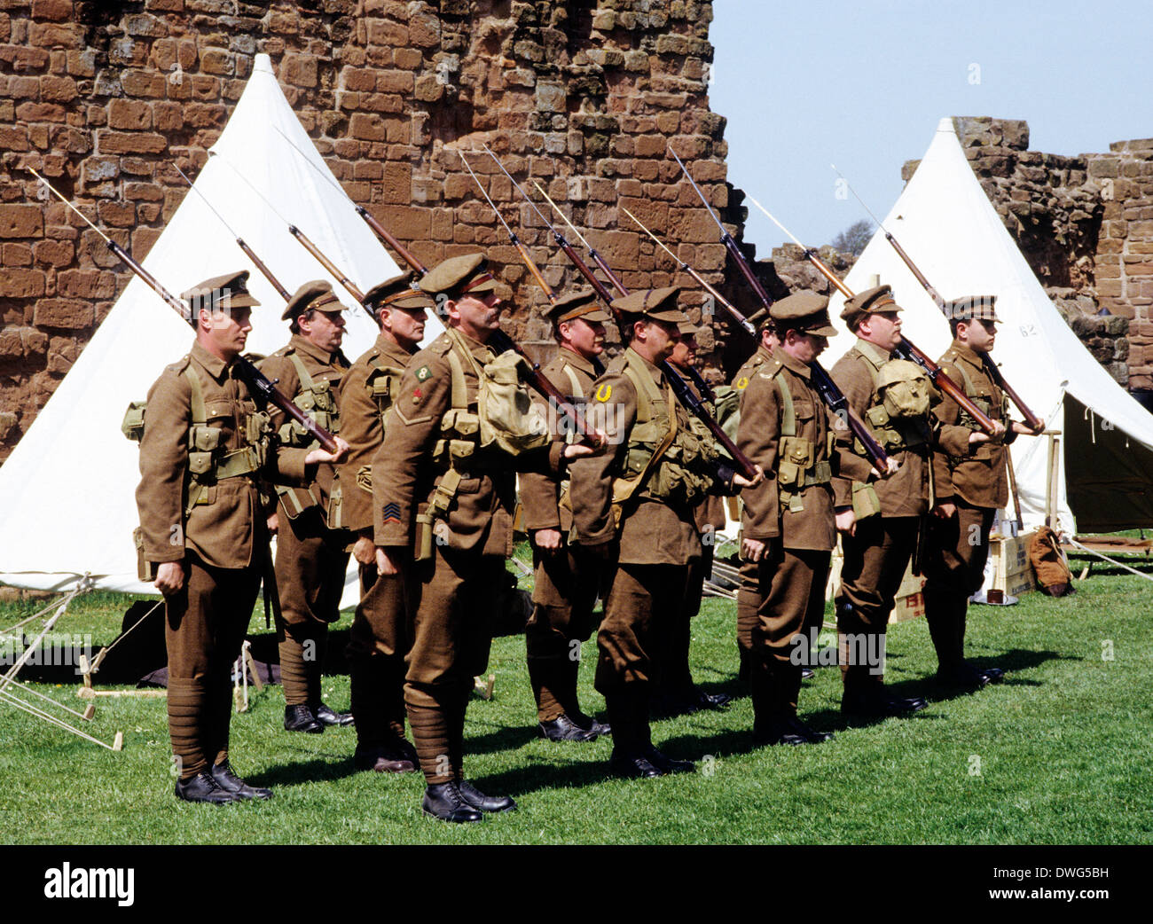 1st World War, British Soldiers, 1914-1918, historical re-enactment WW1 First Great soldier uniform uniforms England UK encampment - Stock Image