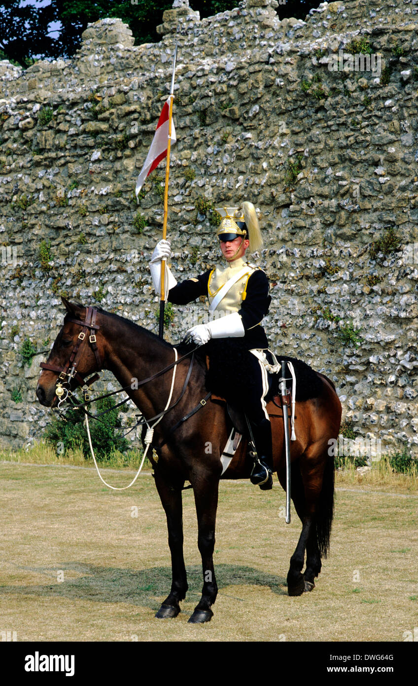 17th Lancers, British Dragoon Regiment, 1892, historical re-enactment army soldier soldiers cavalry late 19th century uniform uniforms England UK cavalryman - Stock Image