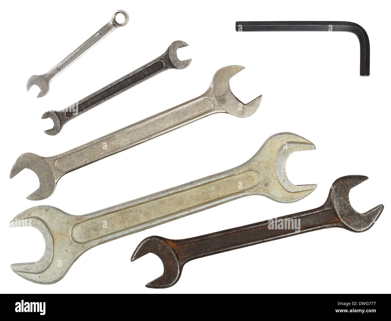Set of used wrenches isolated on white, ready for cut and paste - Stock Image