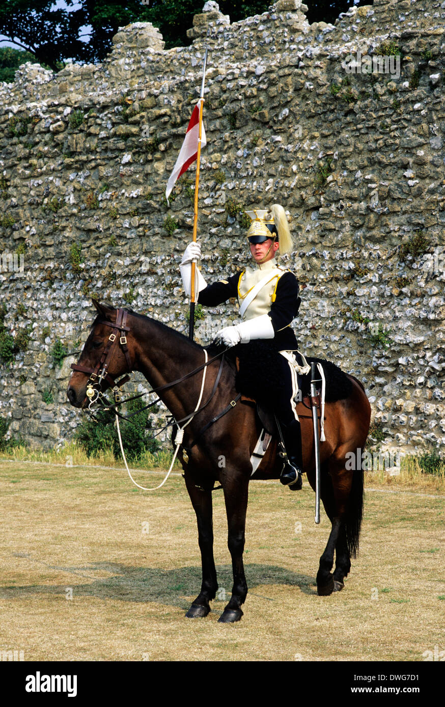 17th Lancers, British Dragoon Regiment, 1892, historical re-enactment army soldier soldiers cavalry late 19th century uniform uniforms England UK - Stock Image