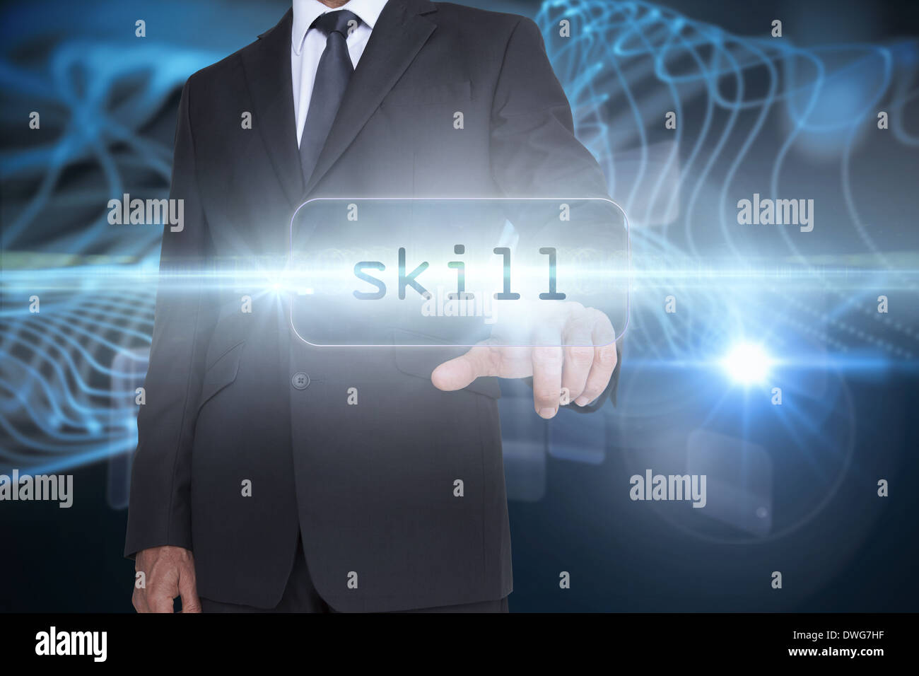 Skill against abstract glowing black background - Stock Image