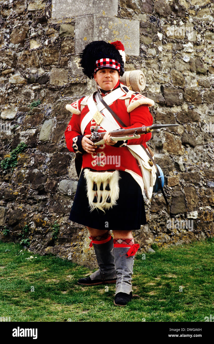 42nd Royal Highland Regiment, 1815. Private soldier, fixed bayonet, re-enactment, as deployed at Waterloo and in Napoleonic Wars - Stock Image