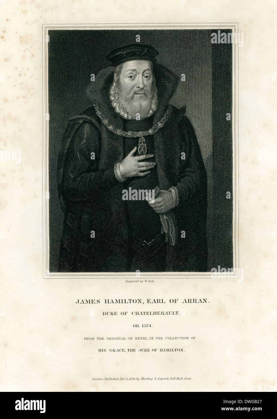 Portrait of James Hamilton, Earl of Arran, Duke of Chatelherault. - Stock Image
