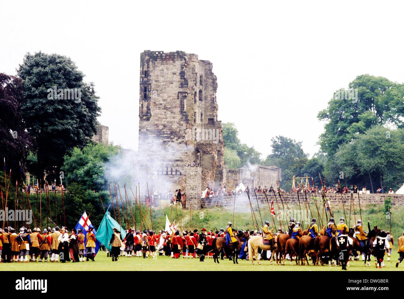 Ashby de la Zouch, English Civil War siege, 1640 historical re-enactment, Leicestershire England UK - Stock Image