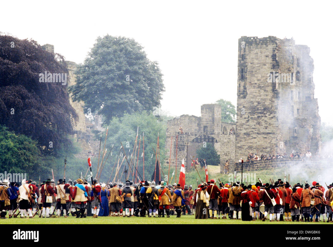 Ashby de la Zouch, English Civil War siege, 1640 historical re-enactment, soldiers, cavalry, Leicestershire England UK - Stock Image