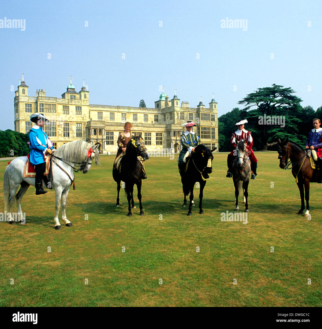 Audley End House, 17th century costume horse riders historical re-enactment, Essex England UK - Stock Image