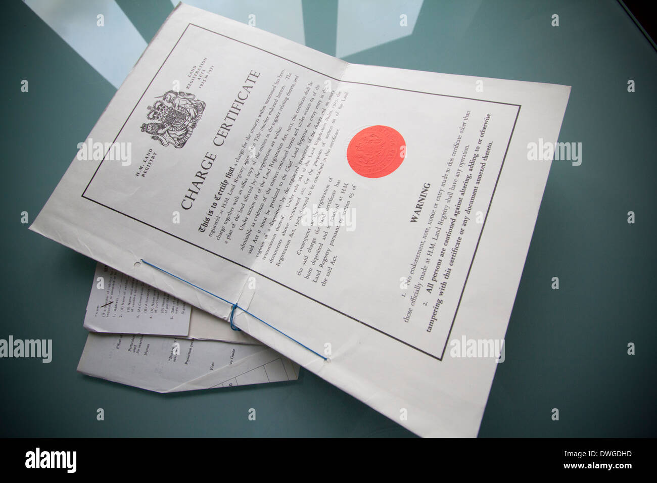 H M land registry charge certificate legal property document - Stock Image