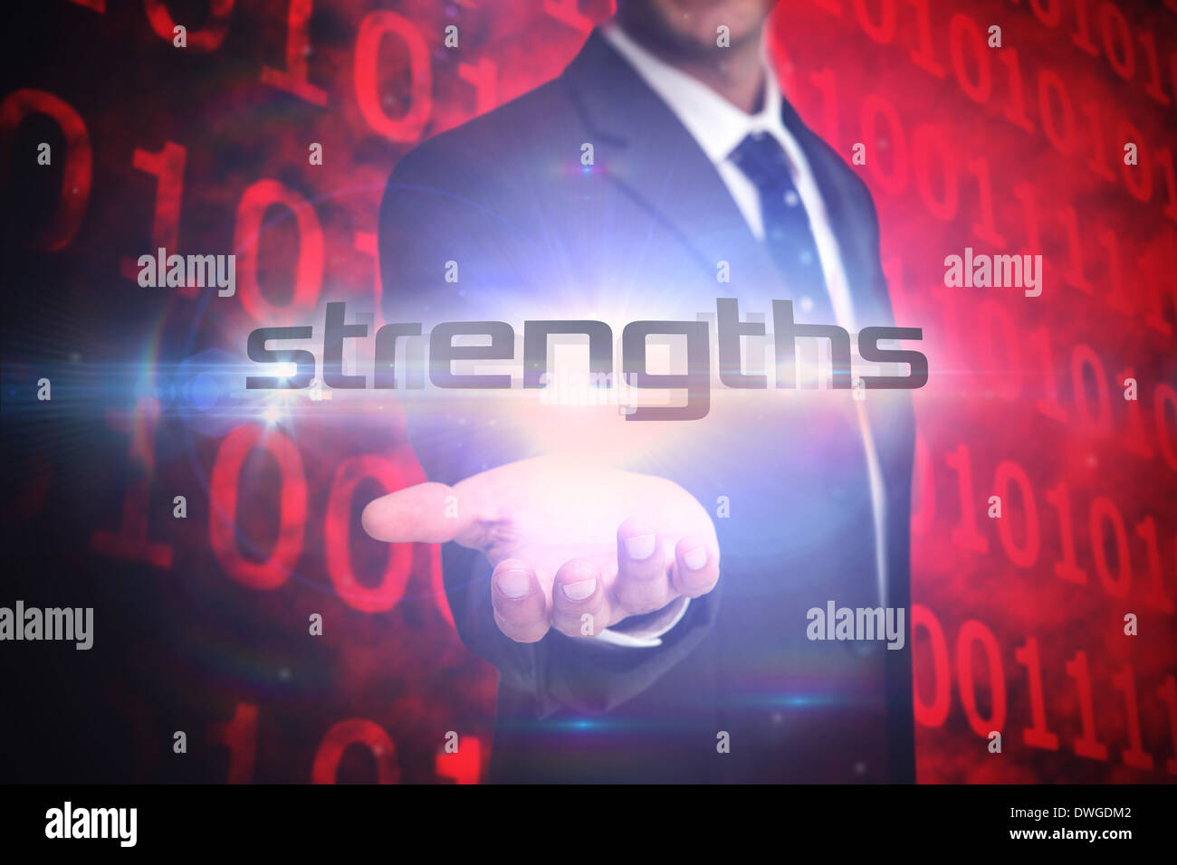 Strengths against shiny red binary code on black background - Stock Image