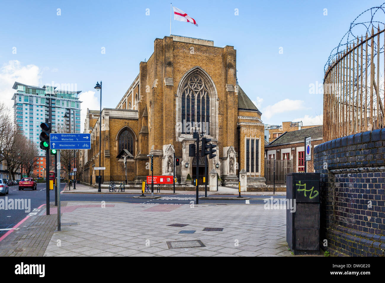 St George's Cathedral - brick and stone exterior of Roman Catholic church designed by Augustus Pugin, Southwark, London, SE1 - Stock Image
