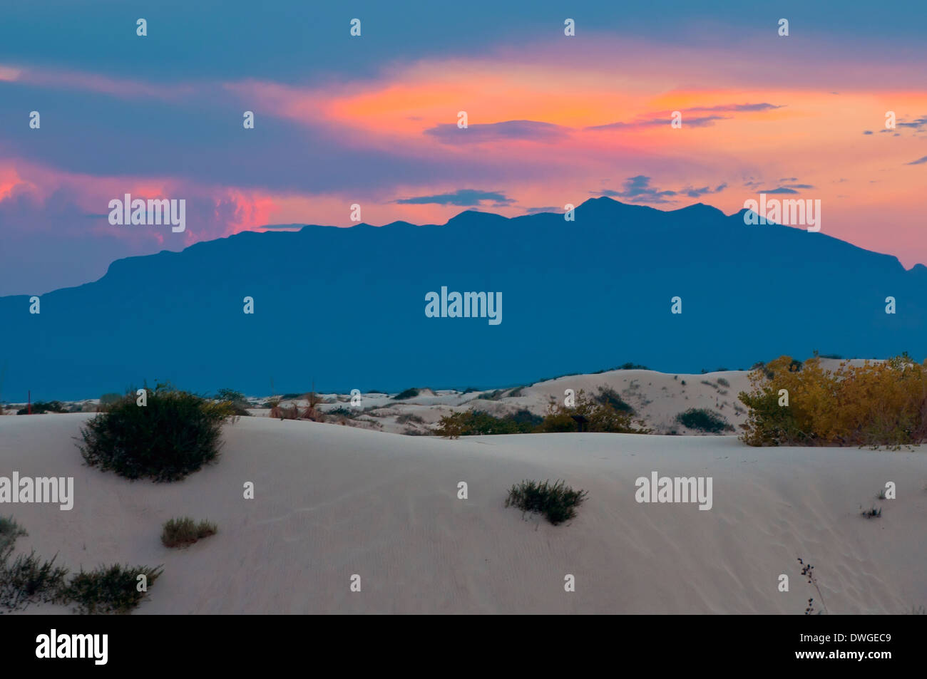 White Sands National Monument at sunset - Stock Image