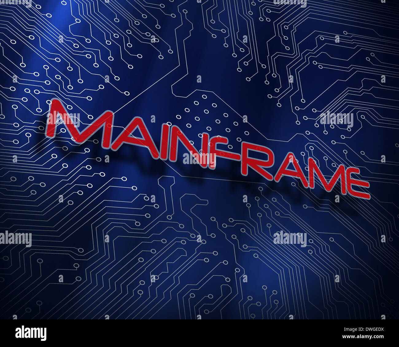 Mainframe against blue technology background - Stock Image