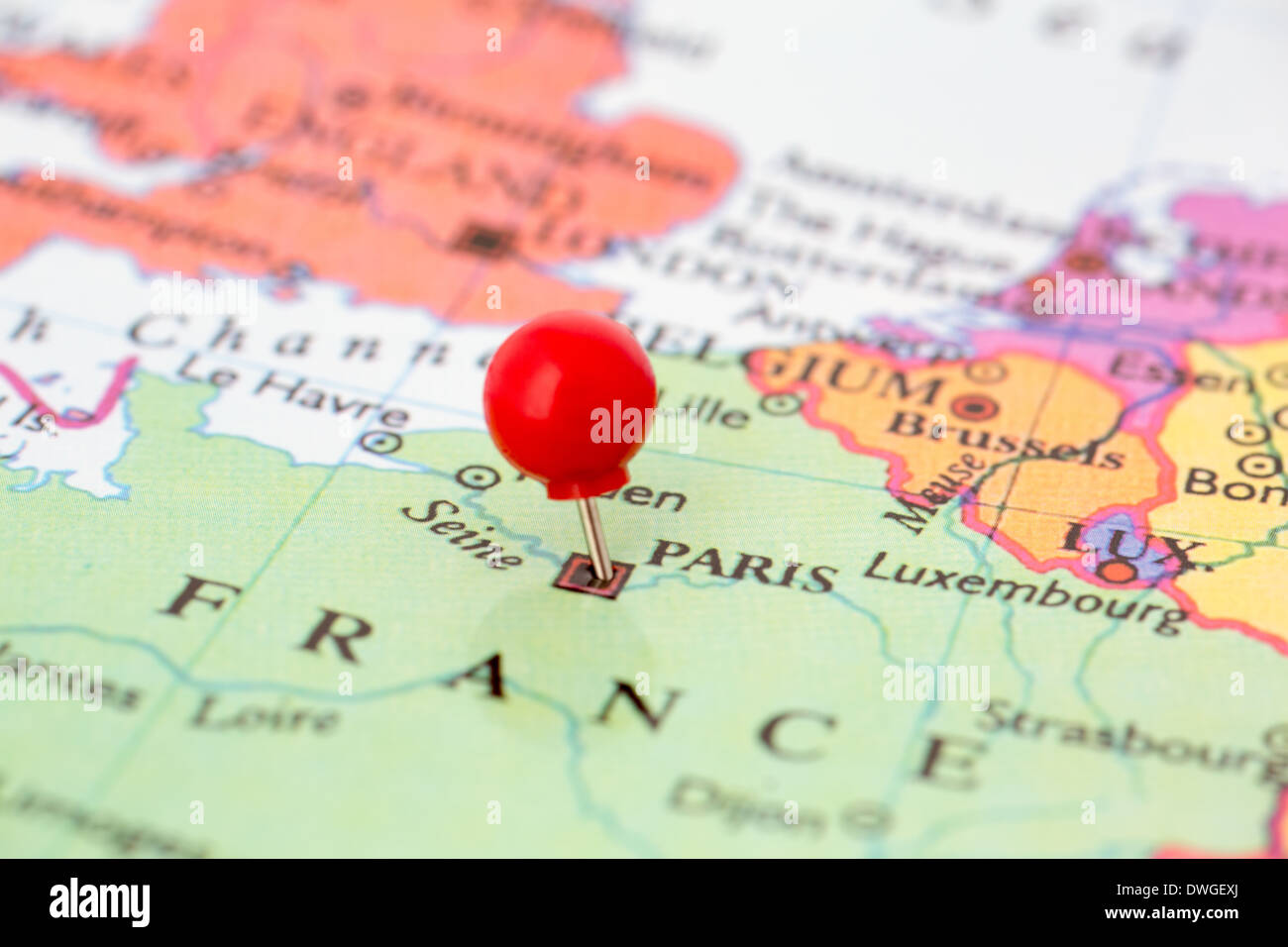 Map City Paris Map Pin Stock Photos Map City Paris Map Pin Stock