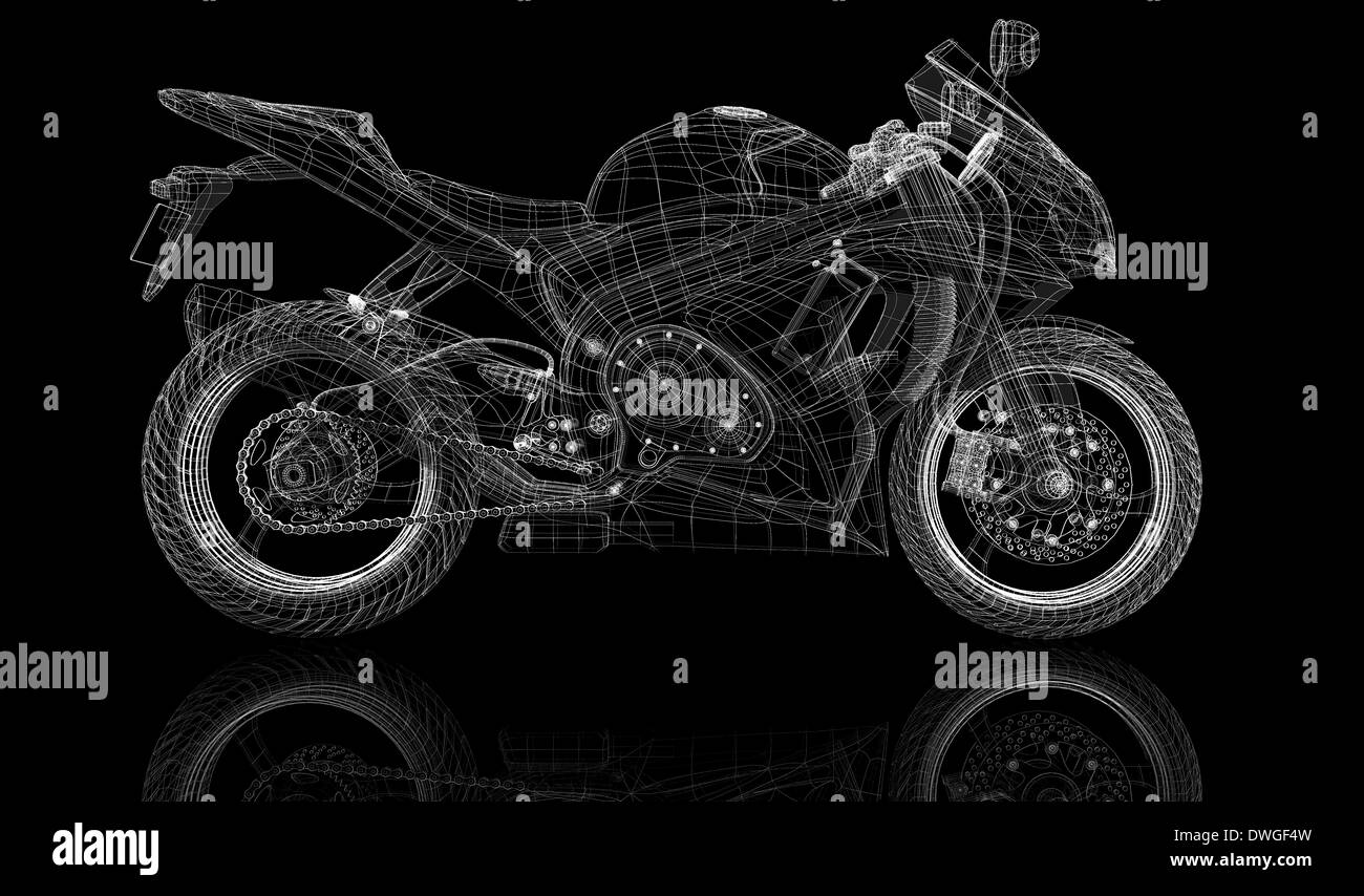 bike, motorcycle, 3D model body structure, wire model Stock Photo ...