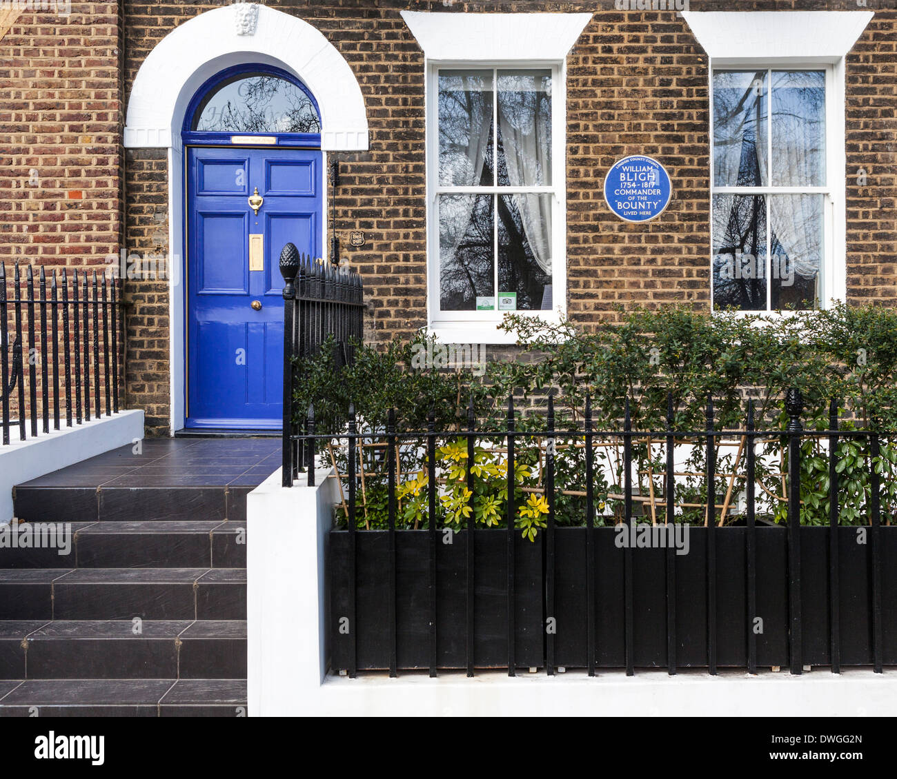 blue door house. William Bligh Blue Plaque On Terraced Brick House With Door In Lambeth Road, Southwark, South London, SE1 R